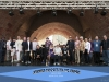 Group photo of ARCHES PIANO STAGE at the 2014 Cincy Blues Fest (Photo by LES GRUSECK)